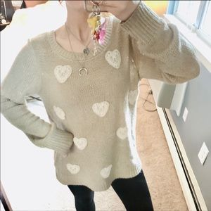 Lauren Conrad lace heart tan knit sweater